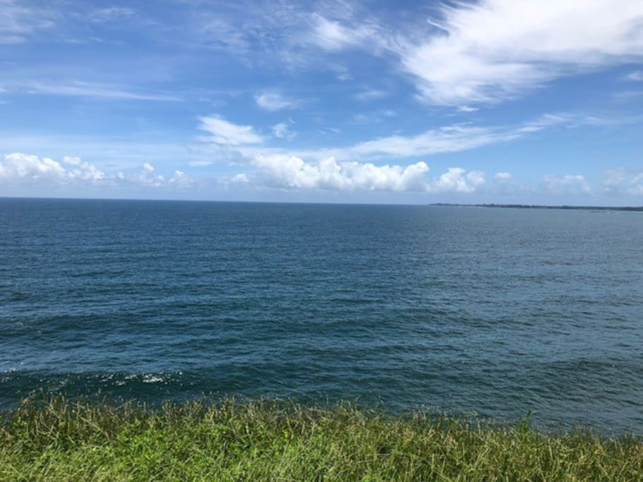 View off the lanai, nothing but vertiver grass and gorgeous blue ocean!
