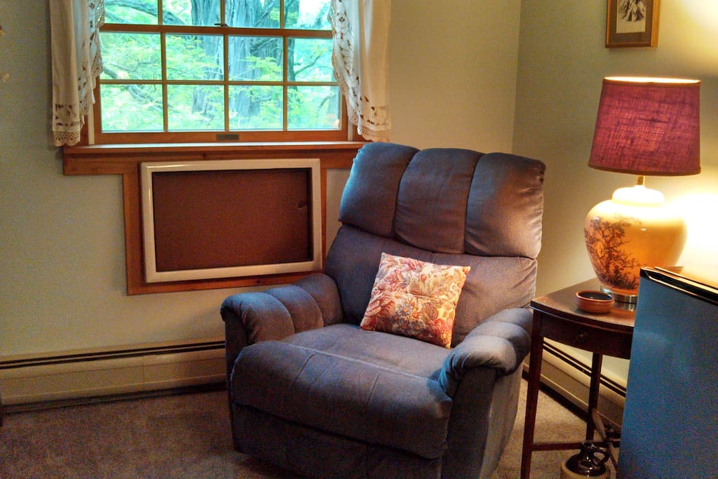 A small sitting area in Guest Room 2 includes this recliner.
