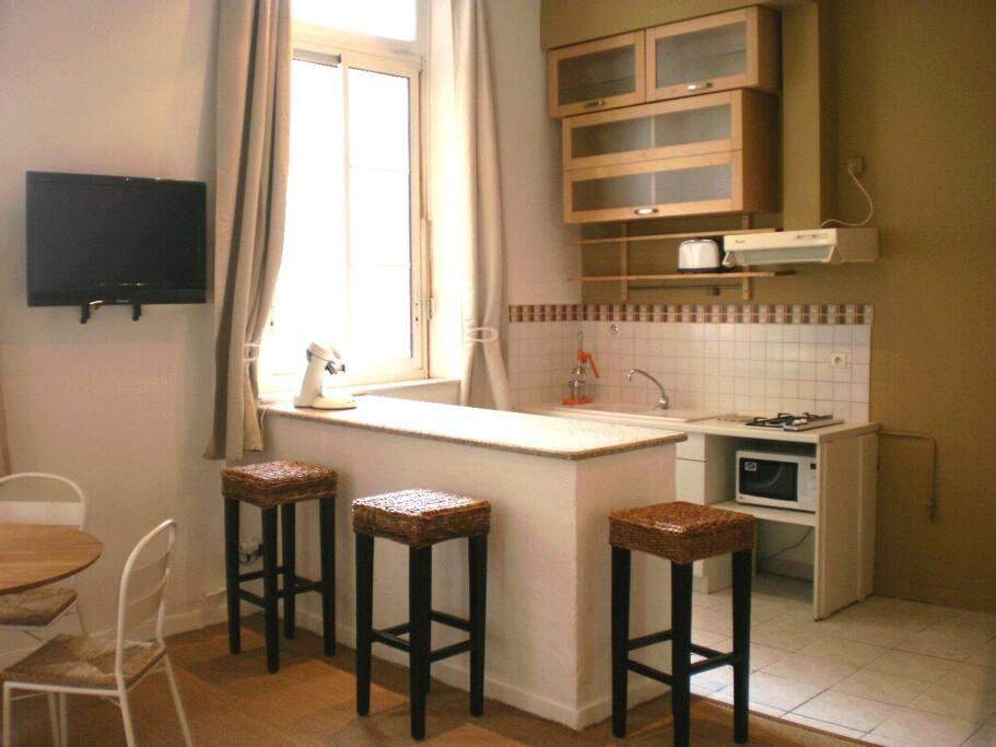 Le coin cuisine qui comprend : lave-linge, réchaud, réfrigérateur, micro-ondes..