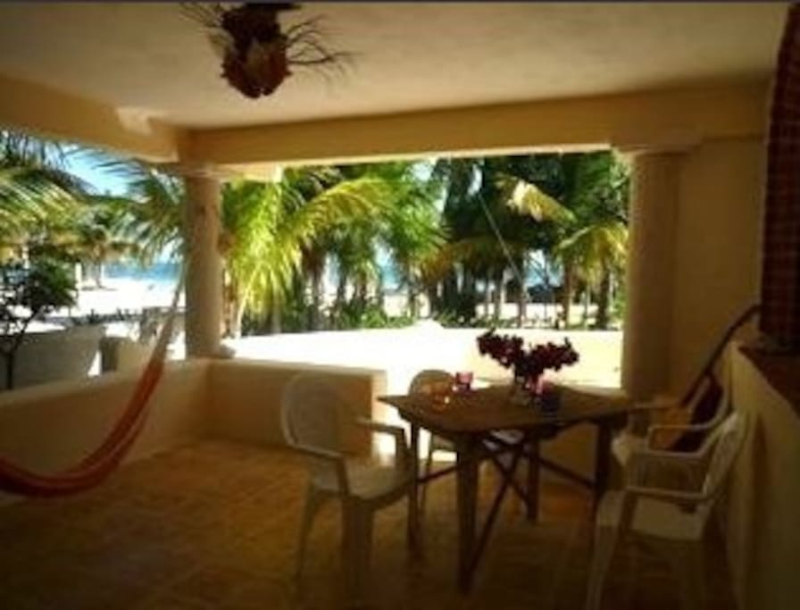 Patio off of living area....view of the beach and Caribbean.