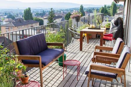 120 m2, terrasse, calme, vue pano - 洛桑 - 公寓