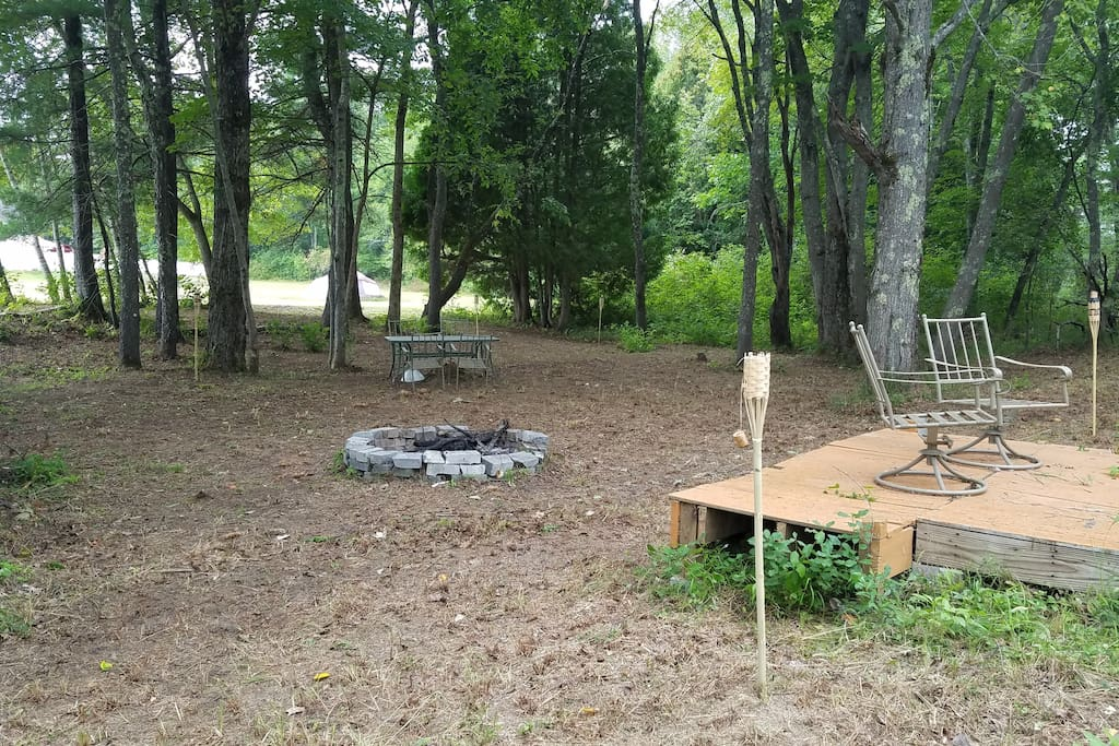 Backyard on the Salmon Falls River. Fire pit, fishing deck, and kayaks available