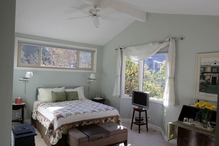 """Master Bedroom with Queen size bed & private bath. 42"""" screen television."""