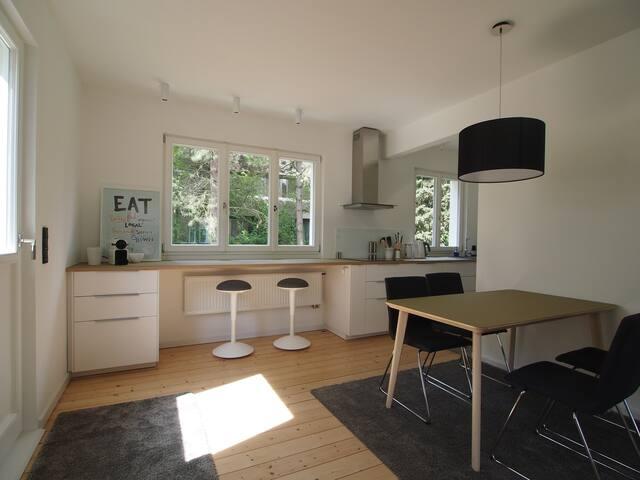 Bauhaus am Rhein mit Garten & Dachterrasse