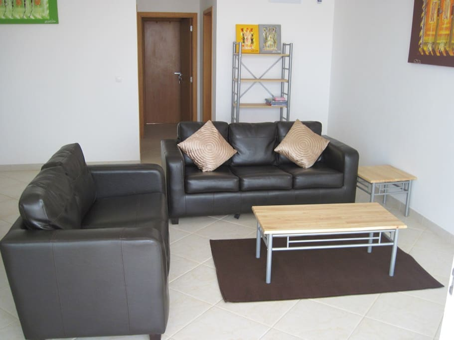 Sitting area with 2 seater sofa and 3 seater sofa bed
