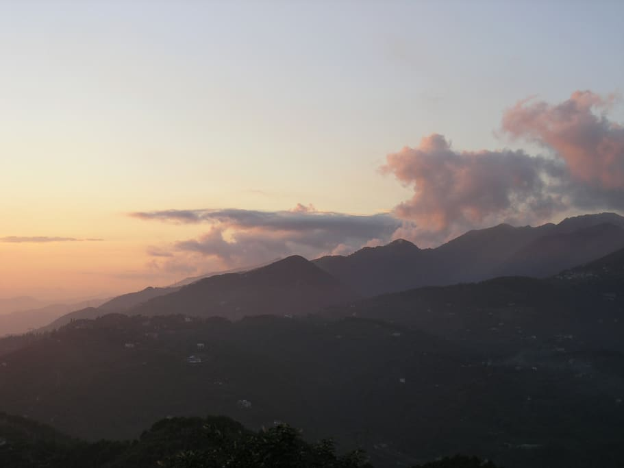 At sunset, a view from Casa Niki terrace of the foothills of the Apuan Alps to the NW
