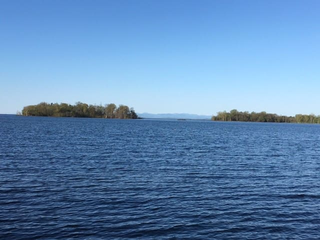 View of Lake Champlain Islands from Sweet Cottage beach
