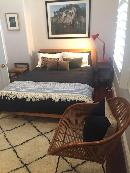 The stylish loft room-park view is a double bedroom featuring all natural textiles.