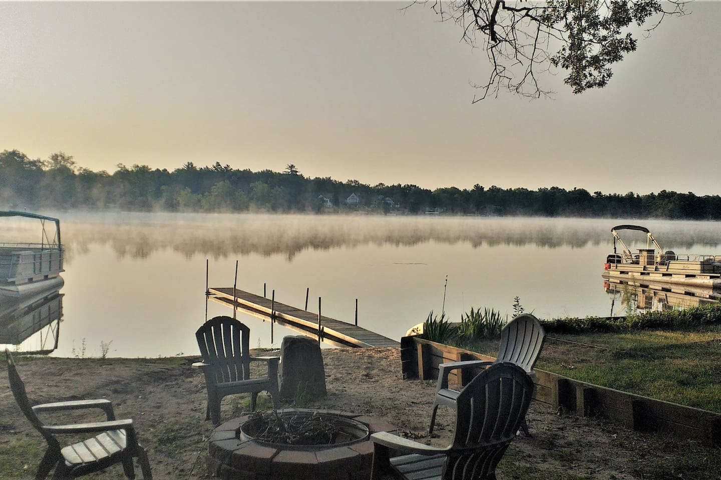 The morning dew rising off the lake,  perfect place to have a cup of coffee!