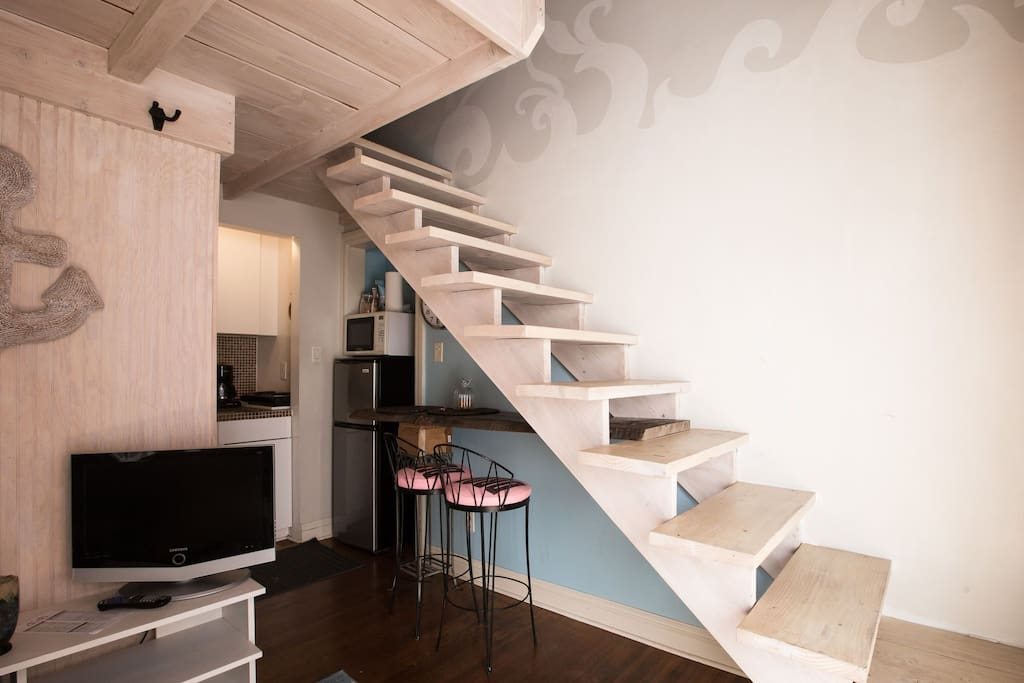 Loft stairs to the bed area
