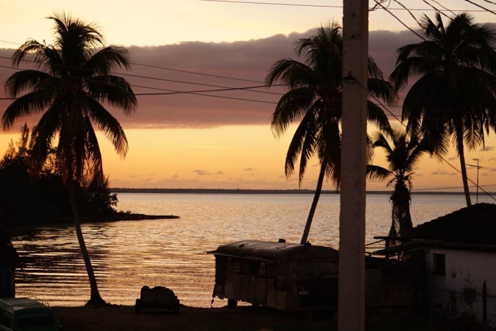 Sea view from the terrace. Bay of pigs sunrise