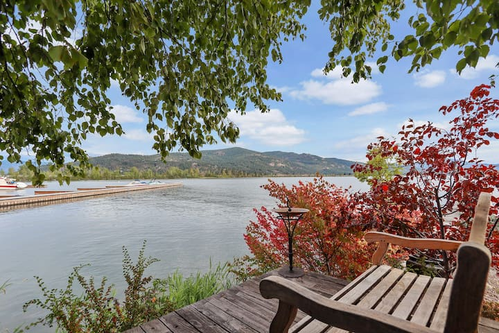 Waterfront home w/ patio & gorgeous view - walk to beach, dogs welcome!