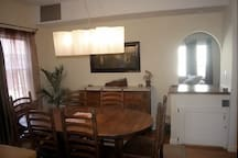 View from kitchen into dining room