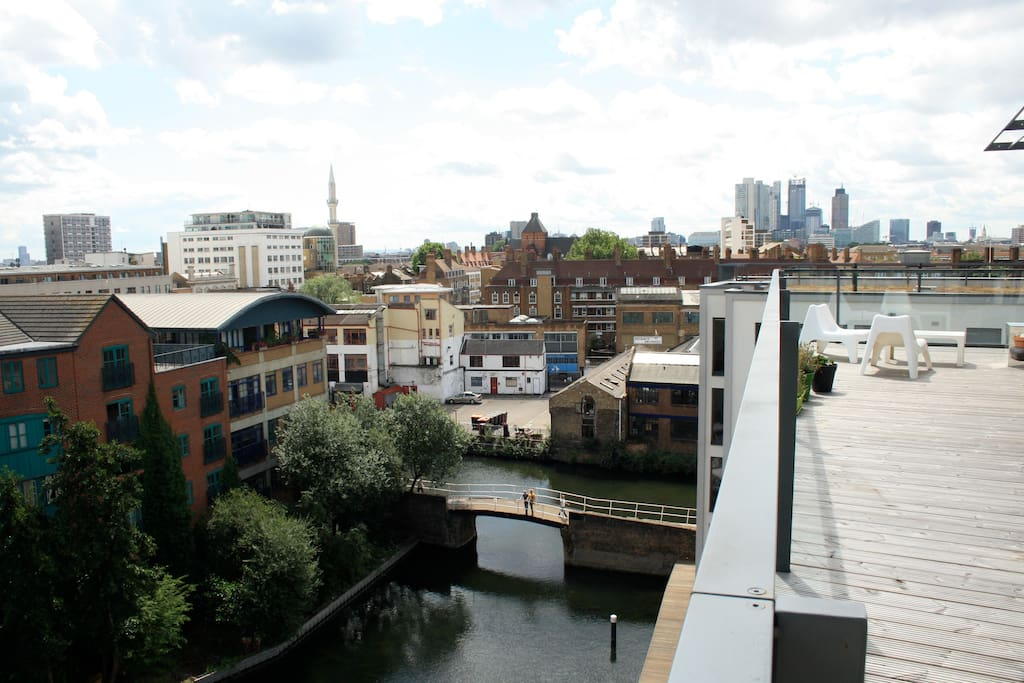 Canalside terrace view.