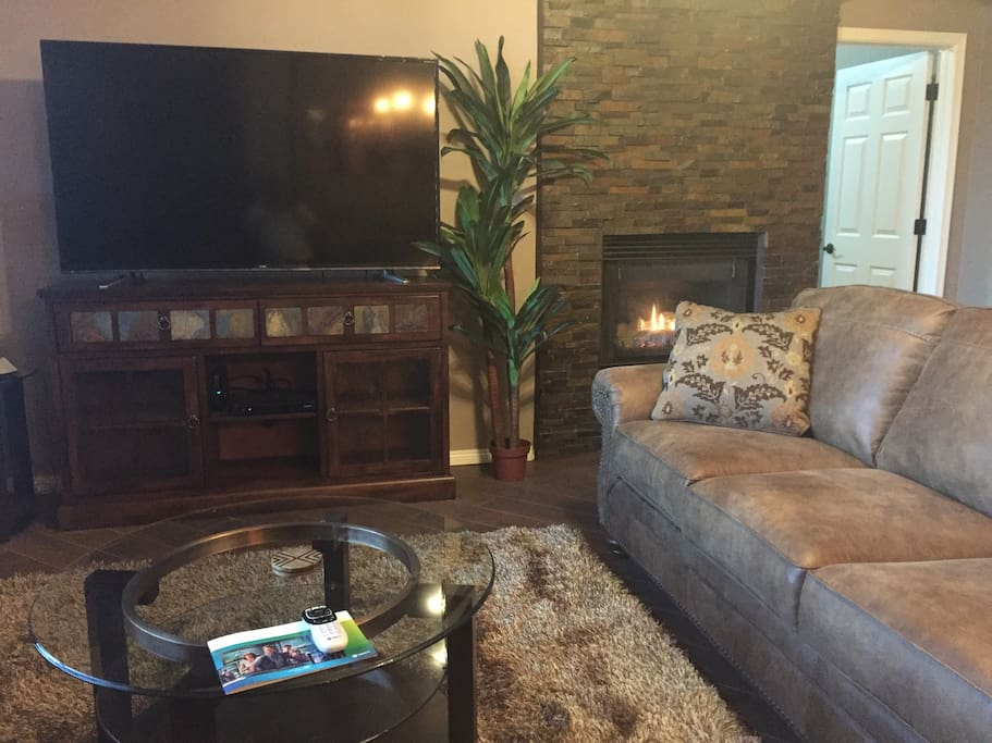 Living Room with gas fireplace burning