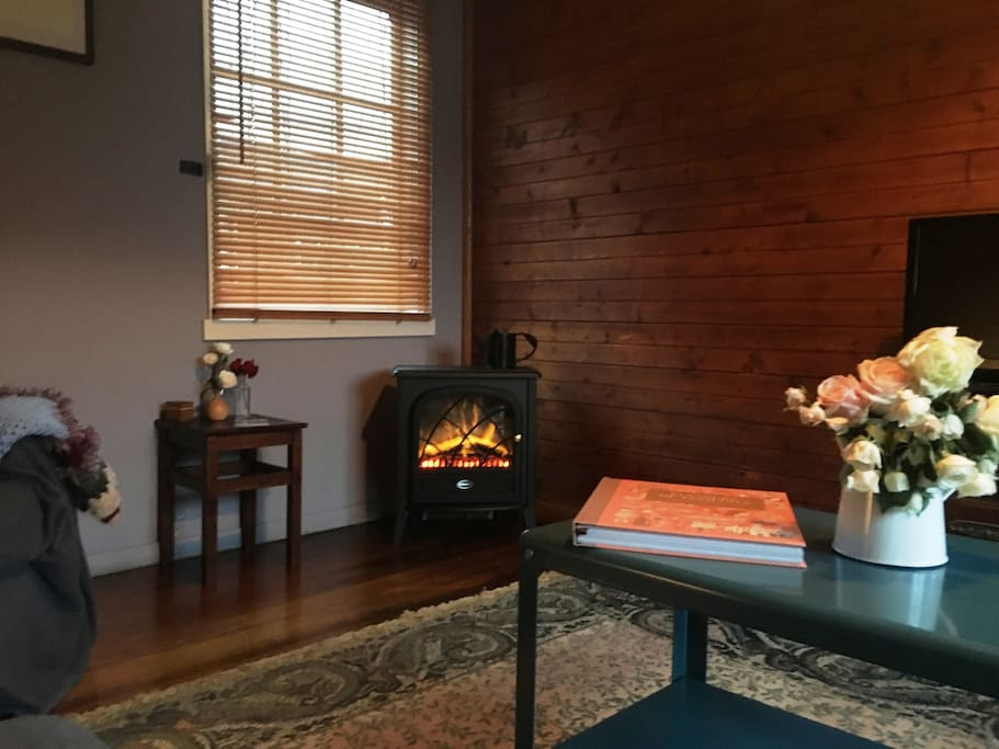 Cosy Lounge-room with electric fire place for warmth and ambience