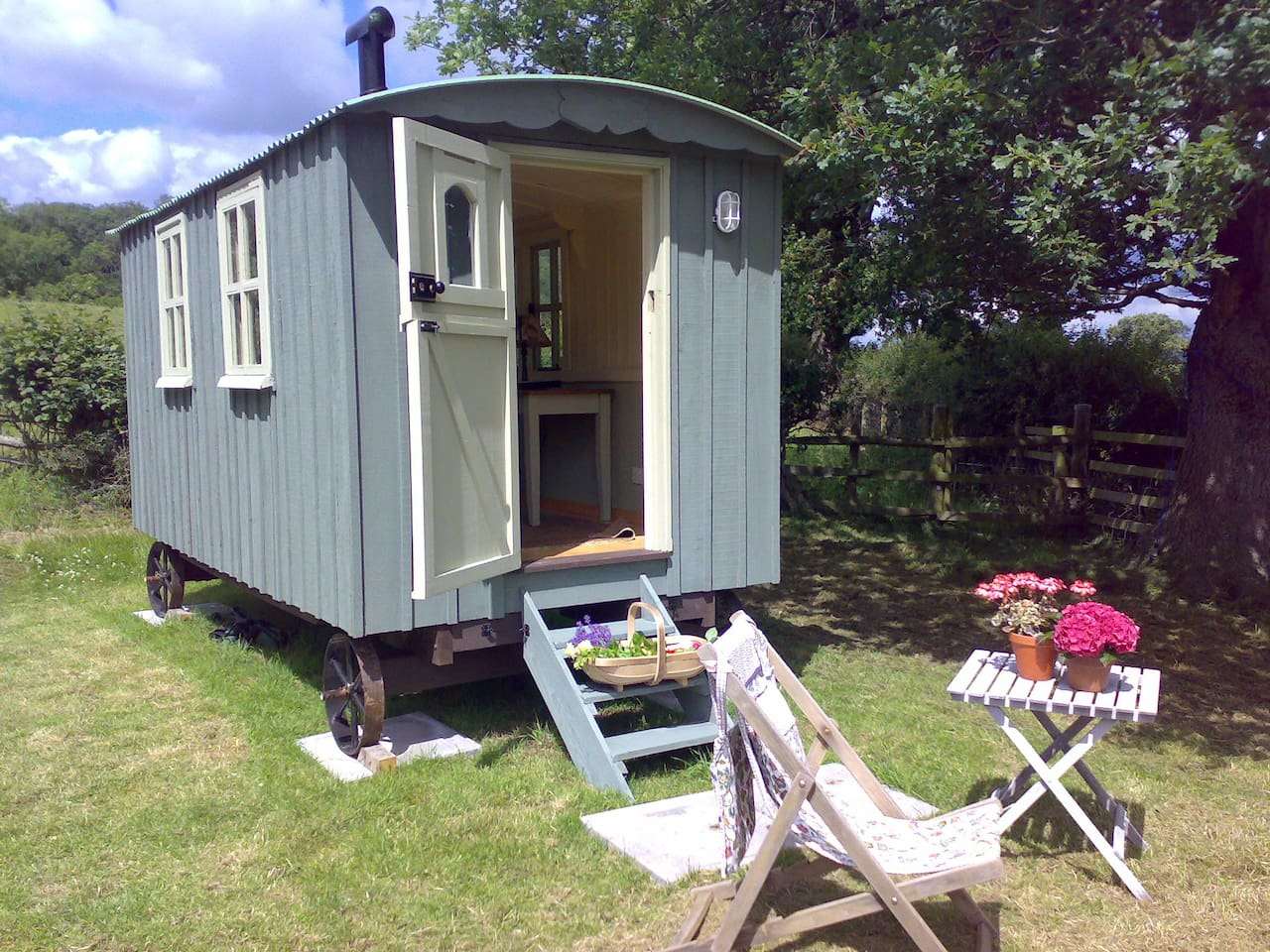 The beautiful shepherds hut in our meadow
