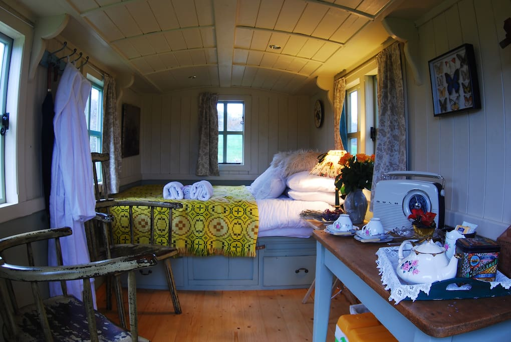 The interior of the shepherds hut