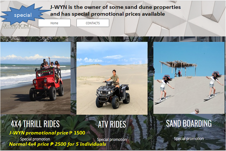 La Paz Sanddunes, LAOAG City, a 4X4 Thrill Ride , maximum 5 people in one vehicle.  Get one thousand pesos discount by staying at J-WYN. Normal price two thousand pesos.