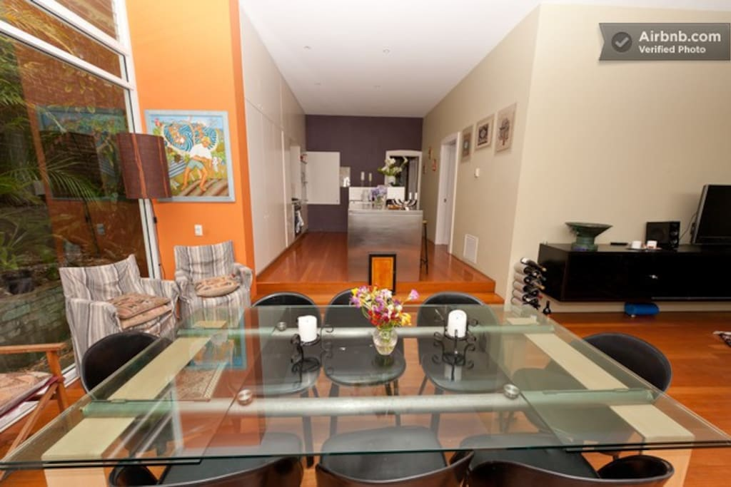 open plan dining area and kitchen, bright and airy