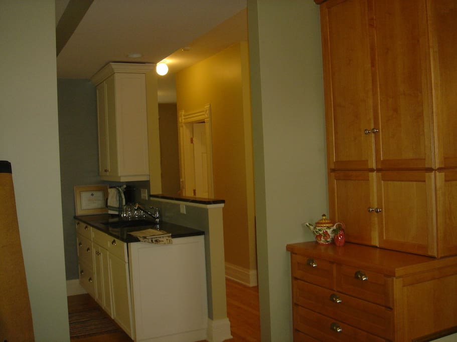 Open kitchen with top-end appliances; view from dining room
