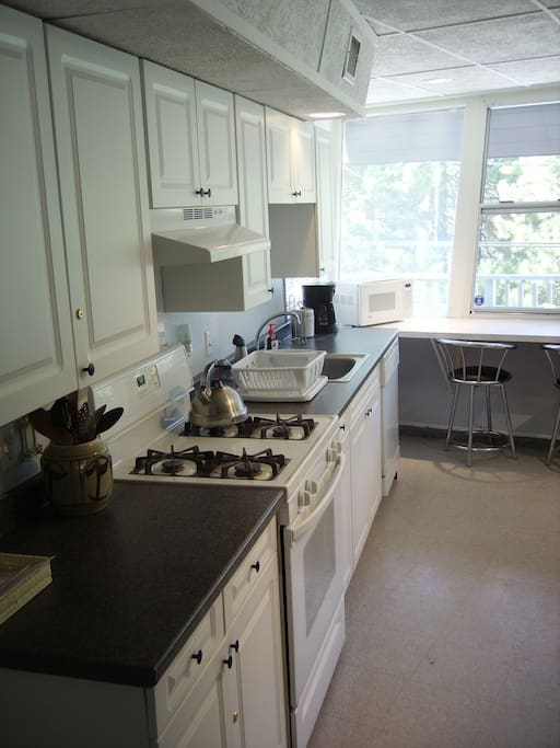 Spacious Kitchen with gas stove, oven, sink, dishwasher, Coffee Maker, and microwave.