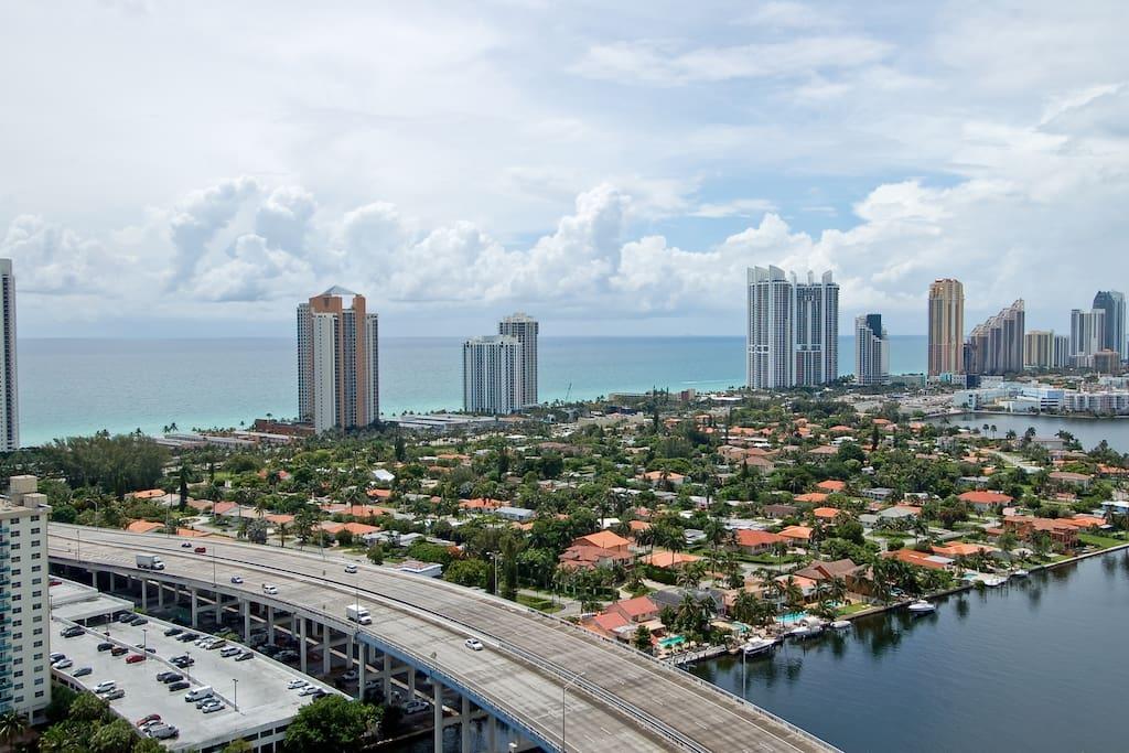 Ocean total panoramic views from 30th floor.