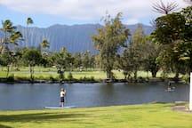 Paddling boarding, gold course and the beautiful Ko'olau Mountains