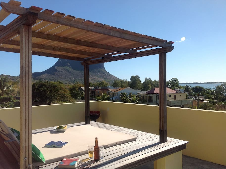 Our shared roof terrace has 360 degree views over stunning UNESCO Le Morne