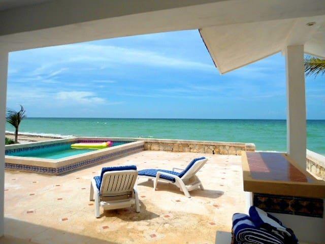 Terraza con piscina, camastros y barra-bar.