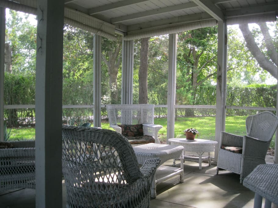 peaceful screened-in  front porch