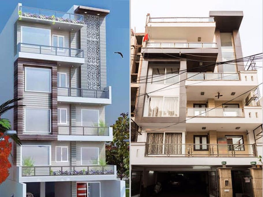 Front Elevation of the Kothi - The Penthouse Delhi (3D & Real Pic)