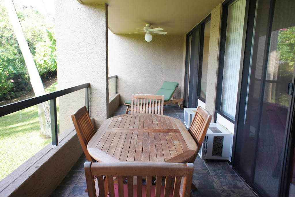 Lanai with Large Dining Table and Lounger