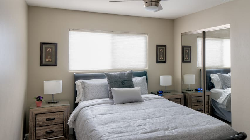 Bedroom #2 - spacious closet and dresser.  Ceiling fans in both bedrooms