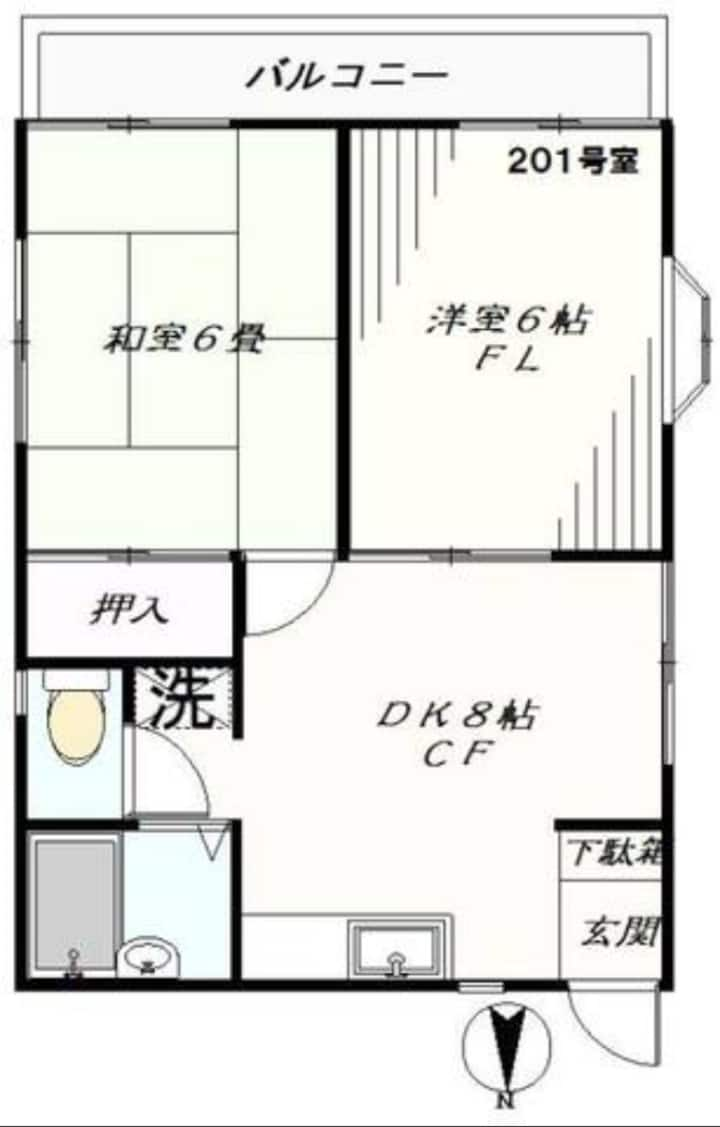 201#祖師谷駅7分,無制限Wi-Fi,閑静な場所,ファミリー大歓迎,2DK,風呂トイレ別