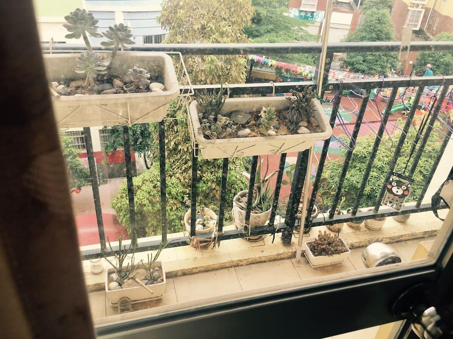 有个小小阳台,楼下是幼儿园所以-非周末-会有它叫你起床,睡懒觉是不可能的除非有扎实的睡功