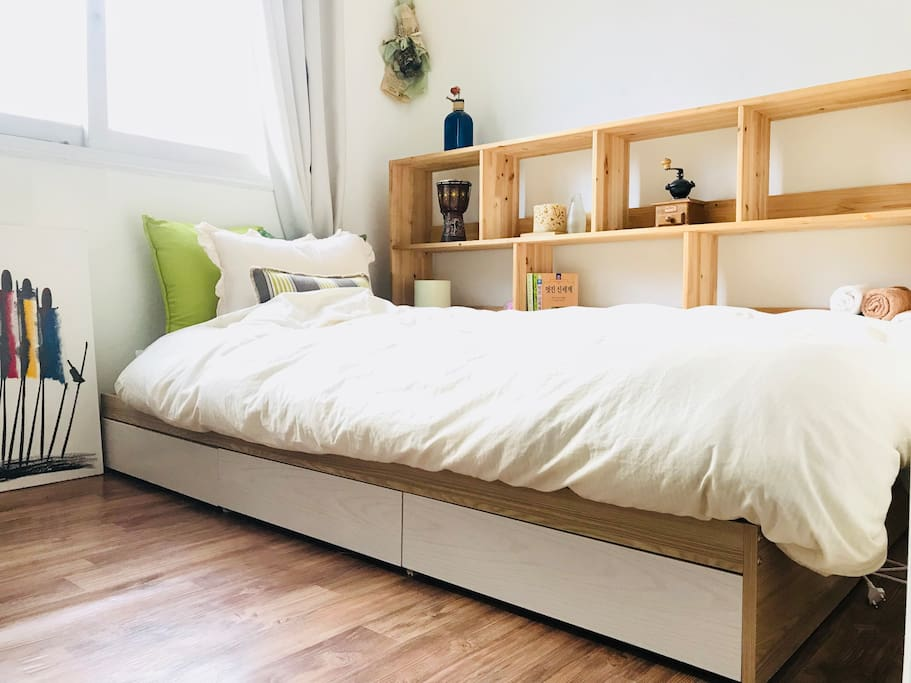 A bed frame with storages(for long-term guests)