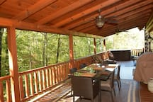 Covered porch, table, hot tub