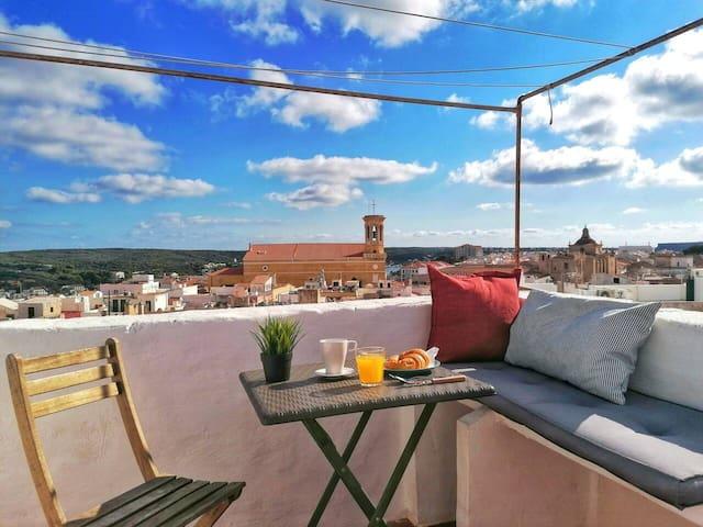 Estudio-loft con terraza y aire acondicionado
