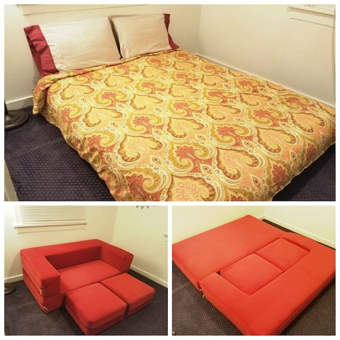 The sofa in the second bedroom/den cleverly converts into a bed!