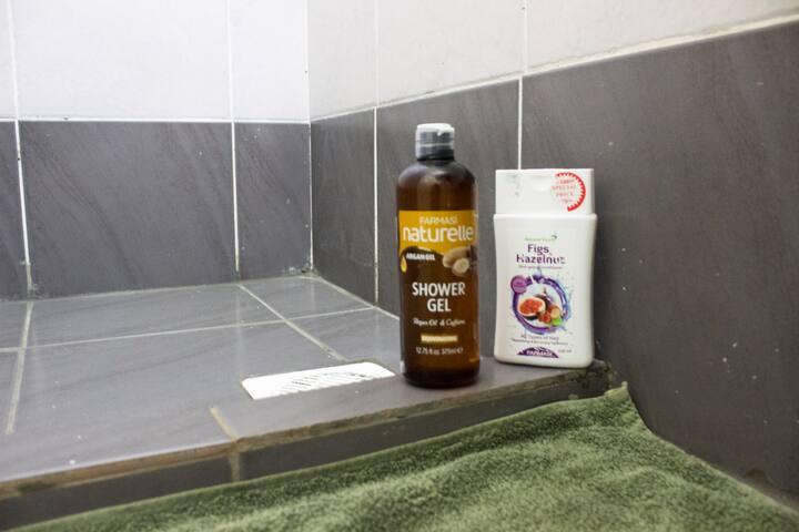 Soap and shampoo are provided
