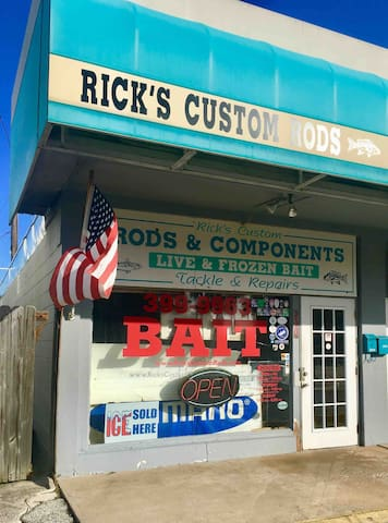 "When you're ready to catch ""the big one"" walk over to Rick's and get your gear and bait.  Super friendly folks who will also provide you all the information and guidance you need to have a great day fishing."