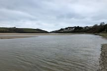 River Gannel leading to Crantock beach, 30 minute walk.