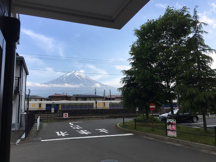 In front of Kawaguchiko staion and Mt.fuji view