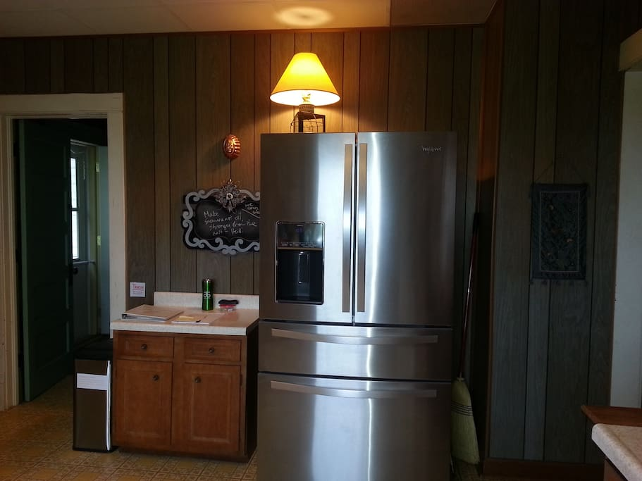 You'll notice a fridge upon entry. We have another fridge in the garage.