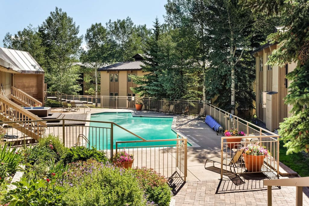 Relax at the beautiful pool and hot tub, open year round