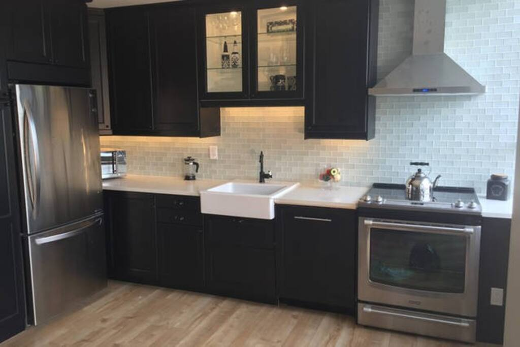 New full size stainless appliances, dishwasher, microwave, ice maker, quartz counter tops and large porcelain farmer sink with lighted glass backsplash.