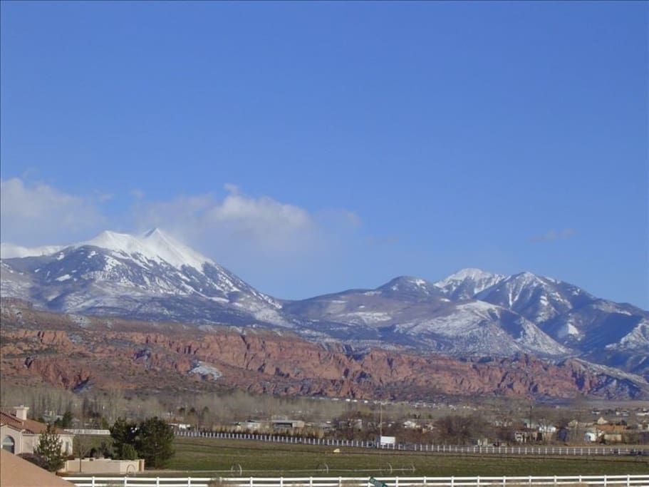The view to the east is the beautiful La Sal Mountain Range