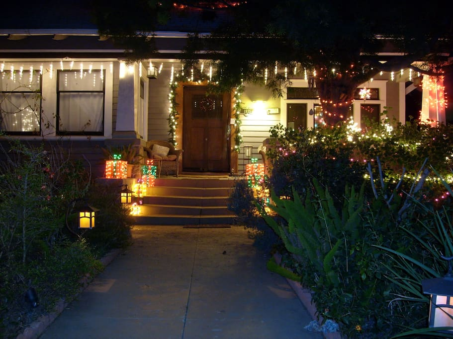 Front entrance during the holiday season