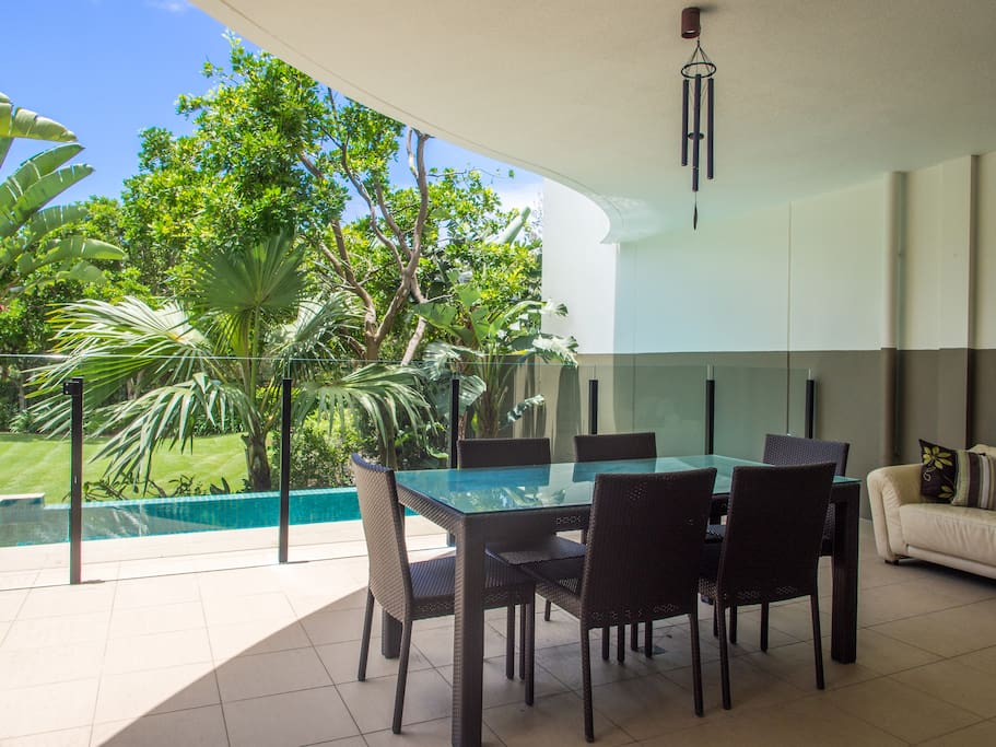 Entertaining Balcony with Private Pool, Dining Setting & Outdoor Sofa